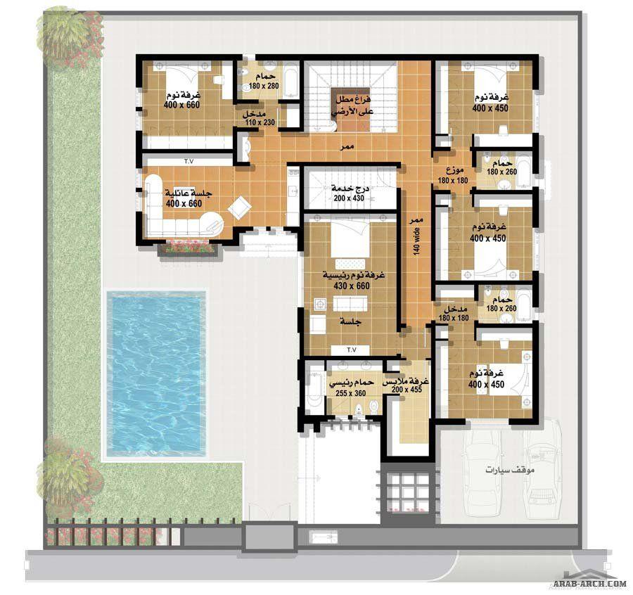 اجمل مجموعه فلل بالمساقط من مسكن العربية نموذج فيلا ٢ العربي Square House Plans My House Plans House Layouts