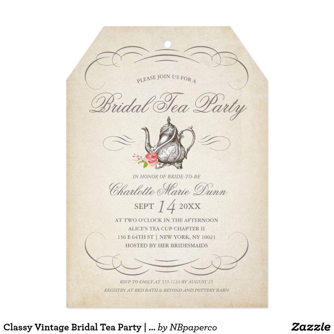 Classy Vintage Bridal Tea Party   Bridal Shower Invitation Card Send ...