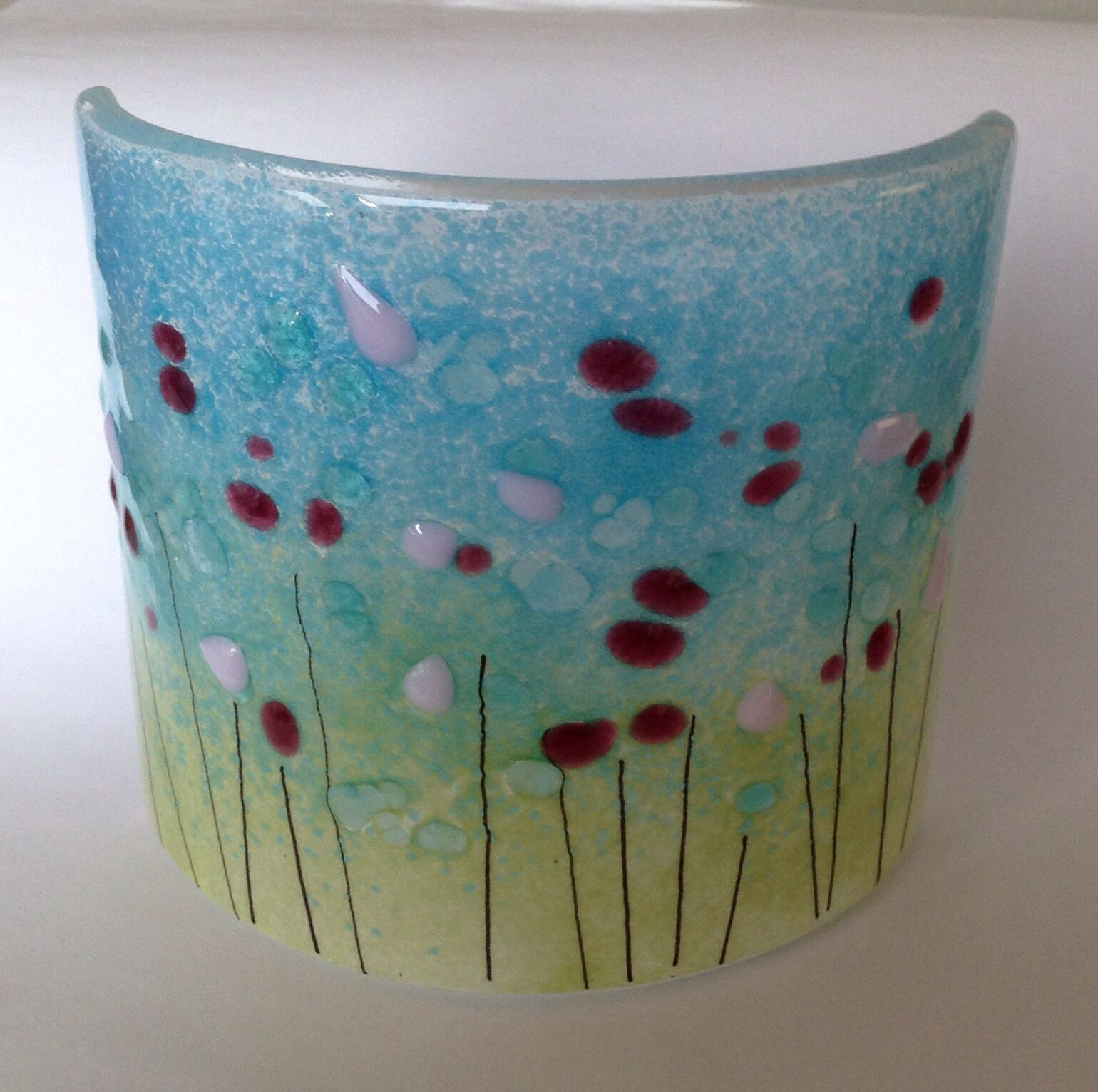 Row of beach huts curved fused glass table clock - Curved Fused Glass Candle Screen Meadow Design Www Firedcreations Co Uk