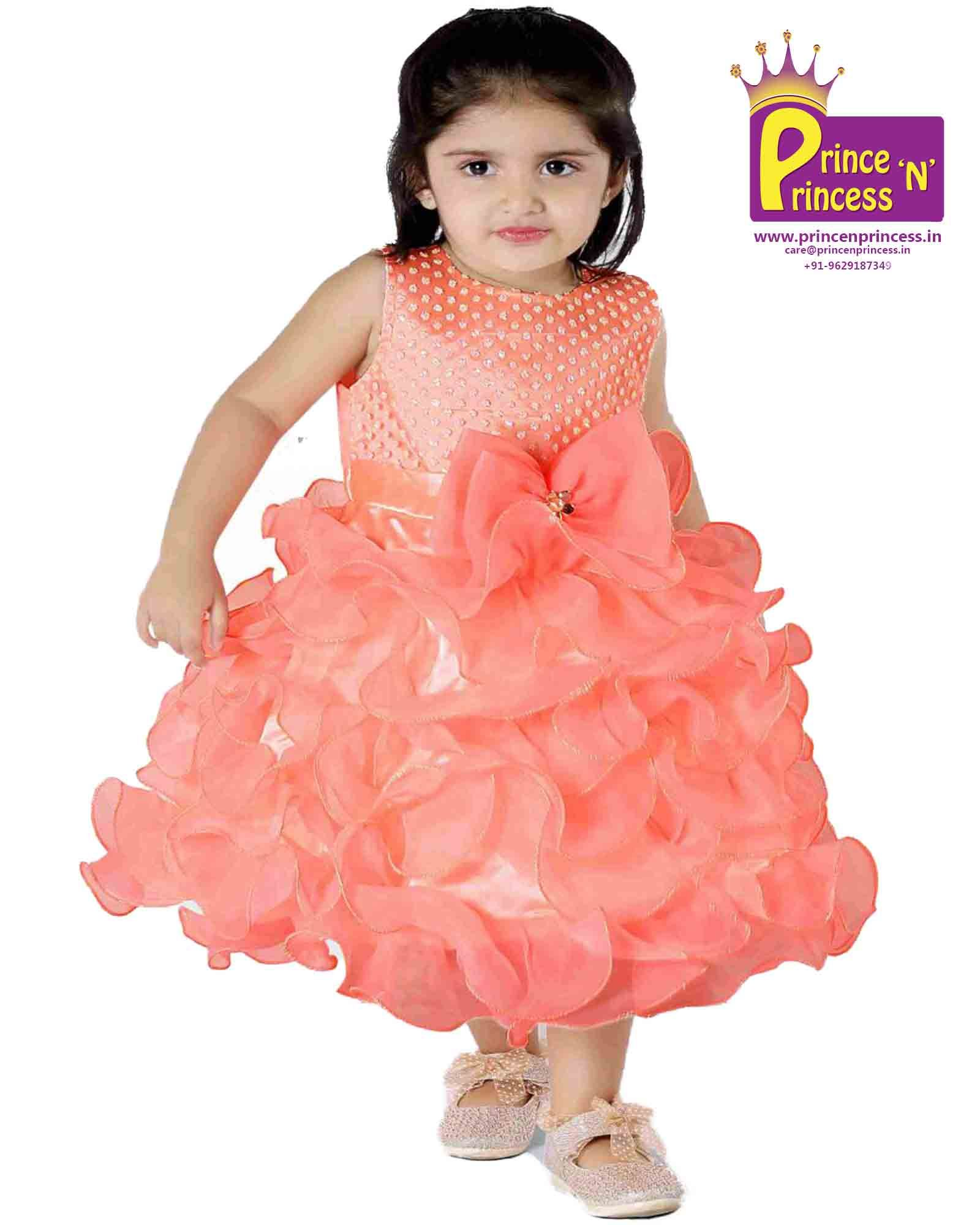 Kids grand party frock new born first birthday Party