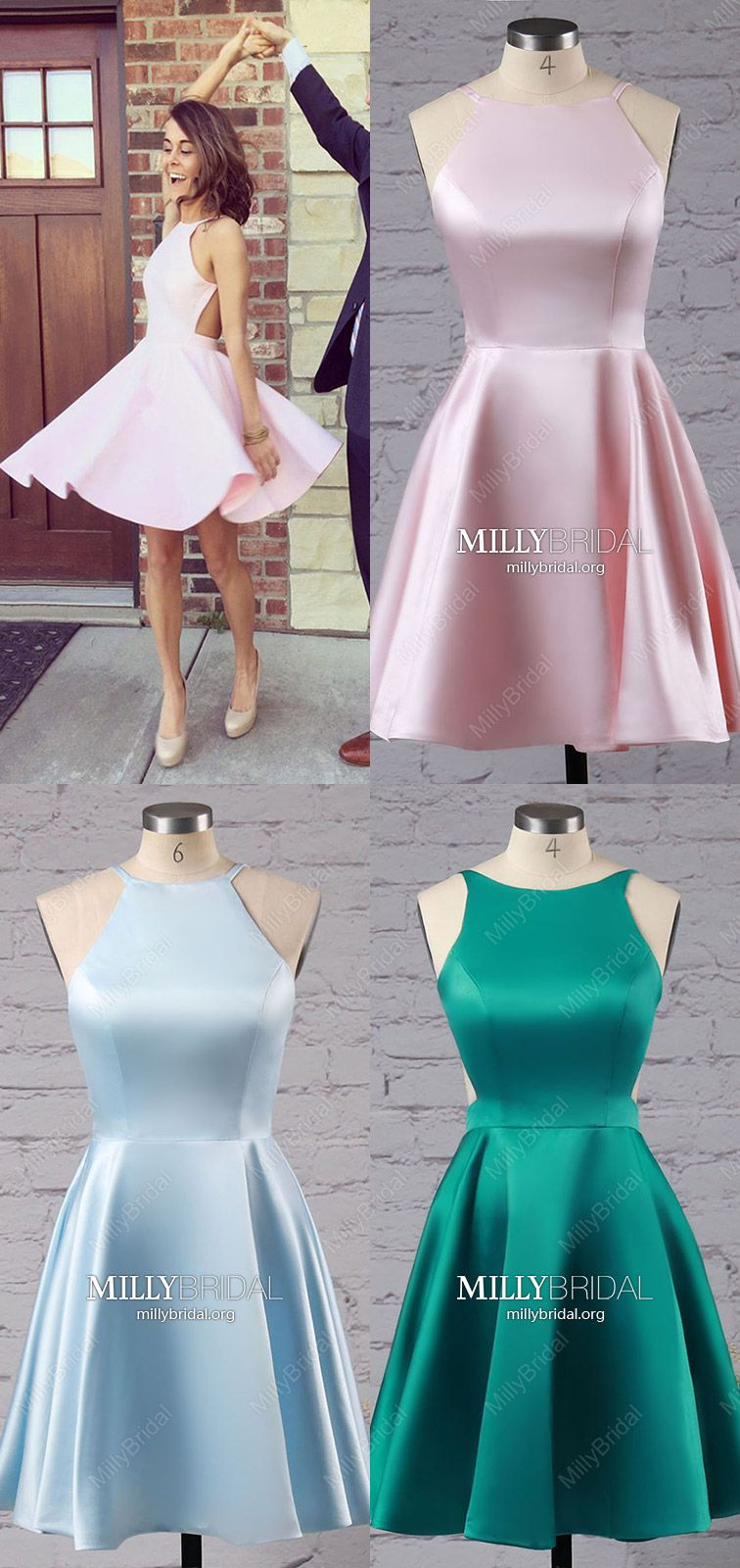 Pink prom dresses simpleshort homecoming dresses cheapaline prom