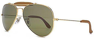 8ebc3cfb54 Ray-Ban Gafas de sol de aviador arte en Arista de cuero marrón de oro