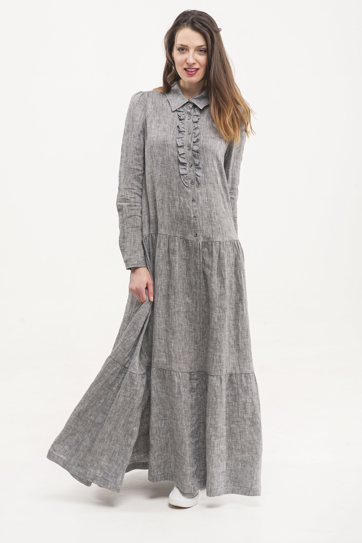 a8e2949653a38 Maxi linen dress. Organic 100% linen dress. Linen shirt dress with ...