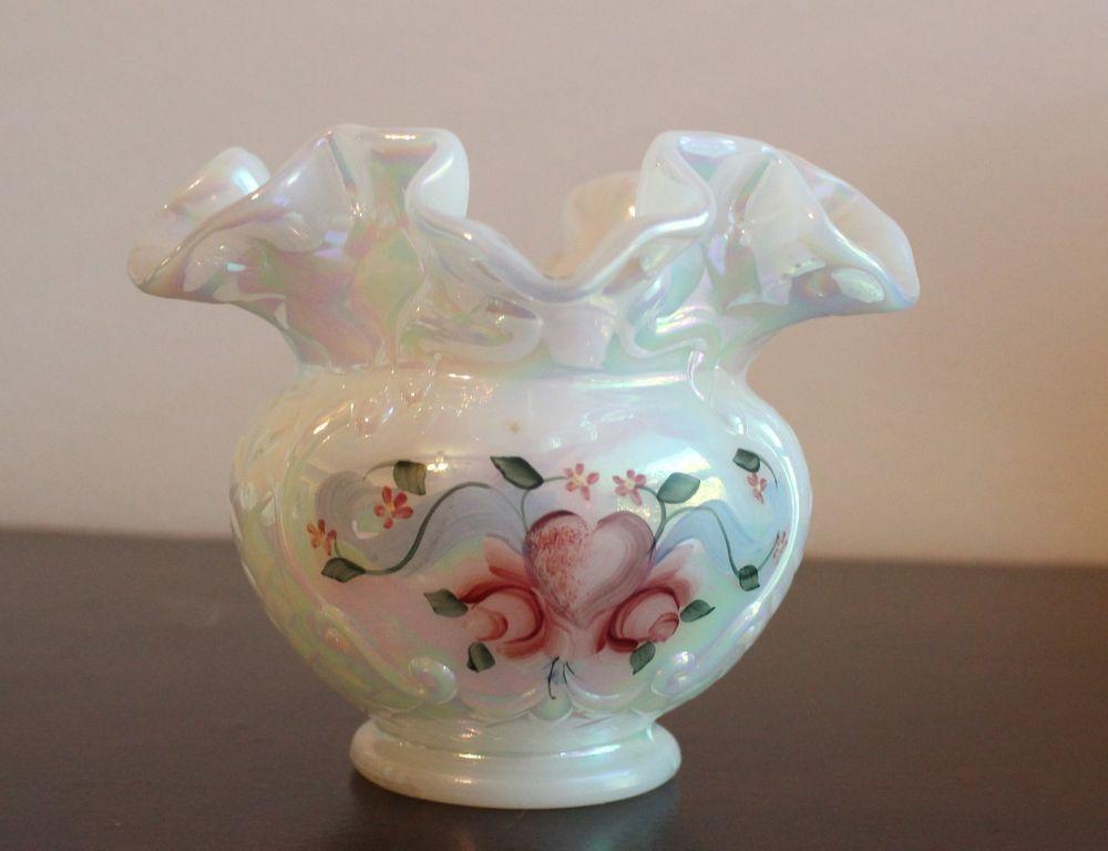 Fenton White Iridescent Glass Ruffled Small Bowl Vase Hand ... Irridescent Ruffled Art Glass Vase