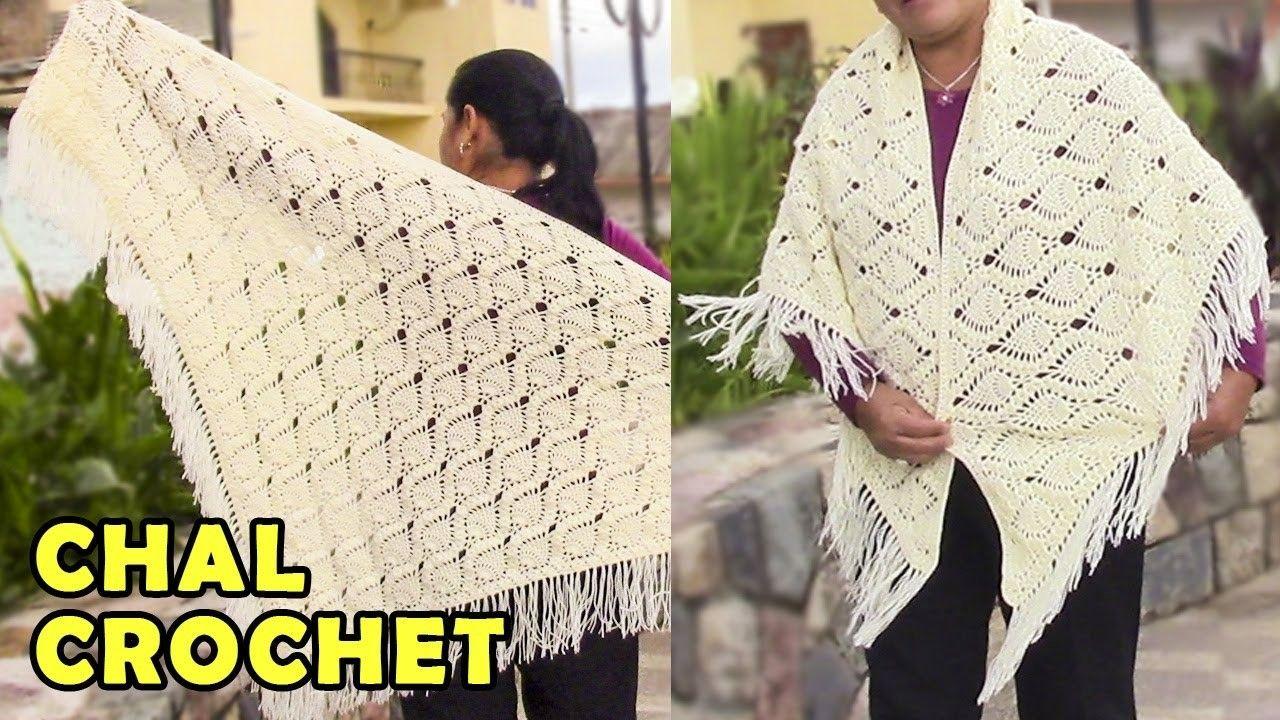 Chal para Damas tejido a crochet o ganchillo paso a paso, fácil de ...