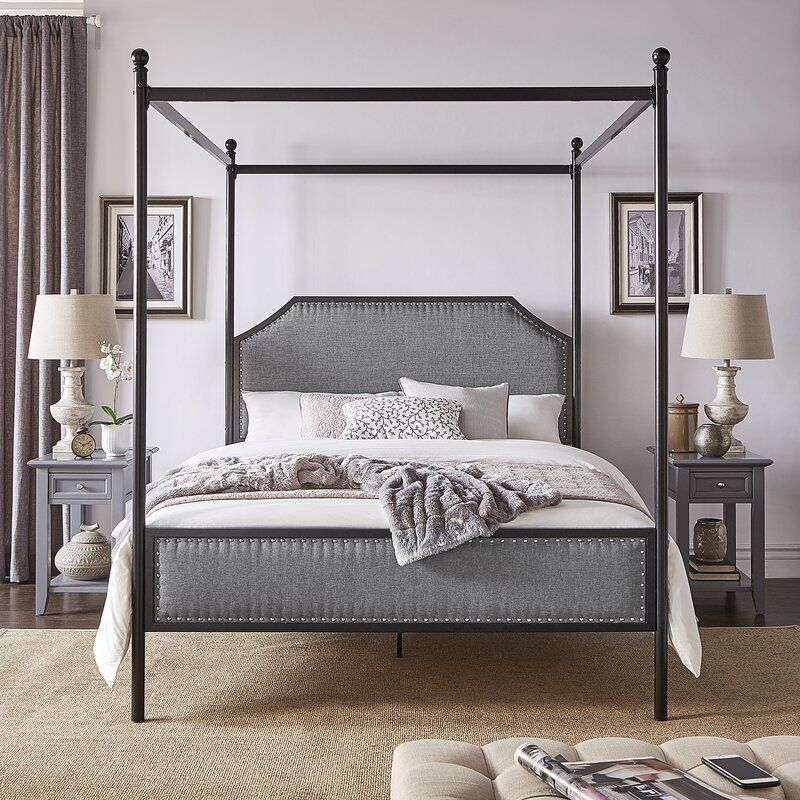 Canora Grey Shippy Metal Queen Upholstered Canopy Bed