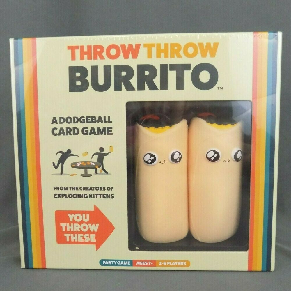 Throw Throw Burrito Game Dodgeball Party Card From Exploding Kittens Creator New Explodingkittens Exploding Kittens Party Card Card Games