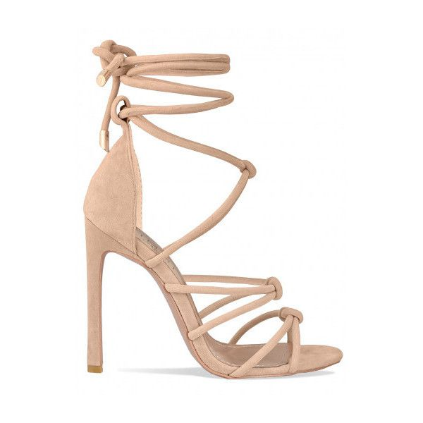 ae5b7af5a92 Sierra Nude Suede Knot Lace Up Heels   Simmi Shoes ( 9.00) ❤ liked on  Polyvore featuring shoes