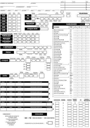 Hojas de personaje Dungeons&Dragons 3.5 modificadas - Imágenes ...
