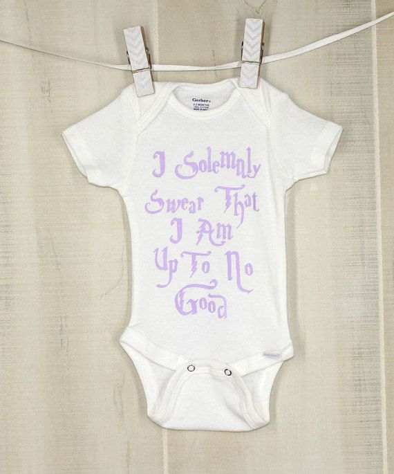 ae96f1045 Mischief Managed Lilac Onesie I Solemnly Swear That I Am Up To No Good Harry  Potter Baby Shower by OyoPOP