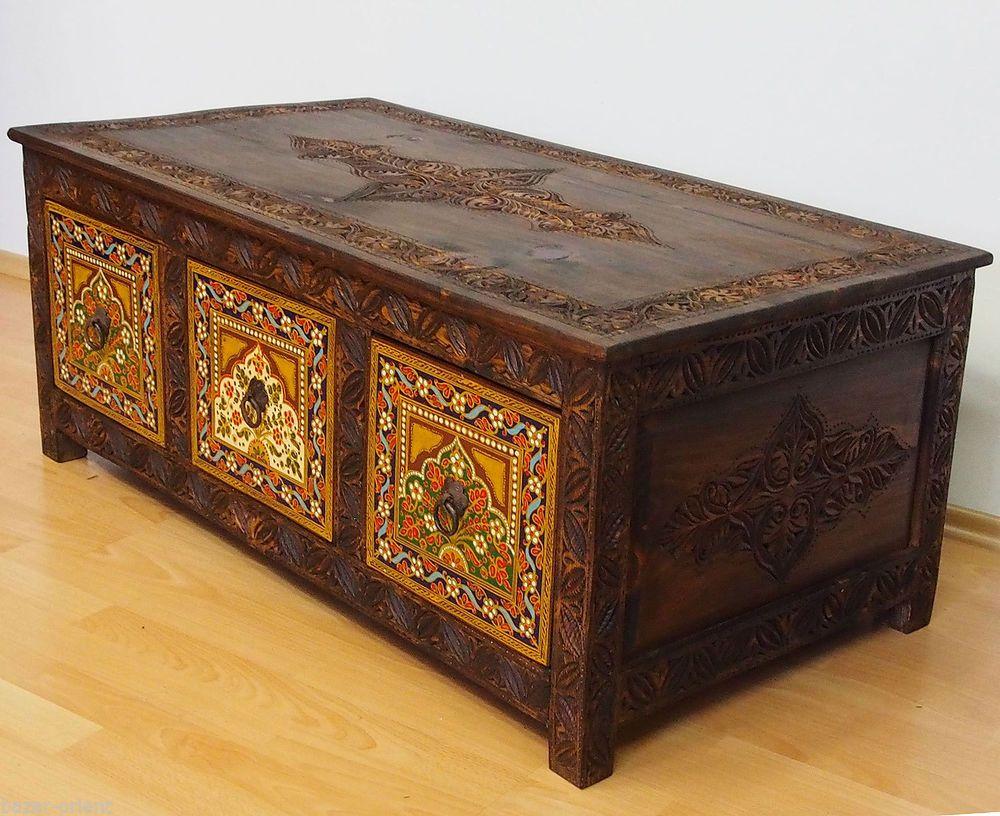 110x60 Cm Antik Look Handgeschnitzte Wohnzimmertisch Tisch Truhe Couchtisch   M B