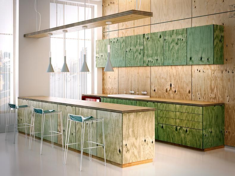 Cocina y pared en playwood de pino isla y pared al natural mueble de ...