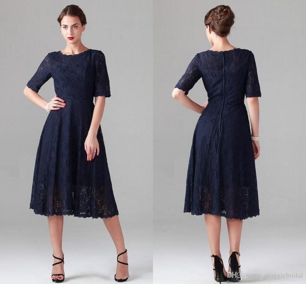 Mother Of Bride Dresses Plus Sizes Navy Blue 2015 New Tea Length