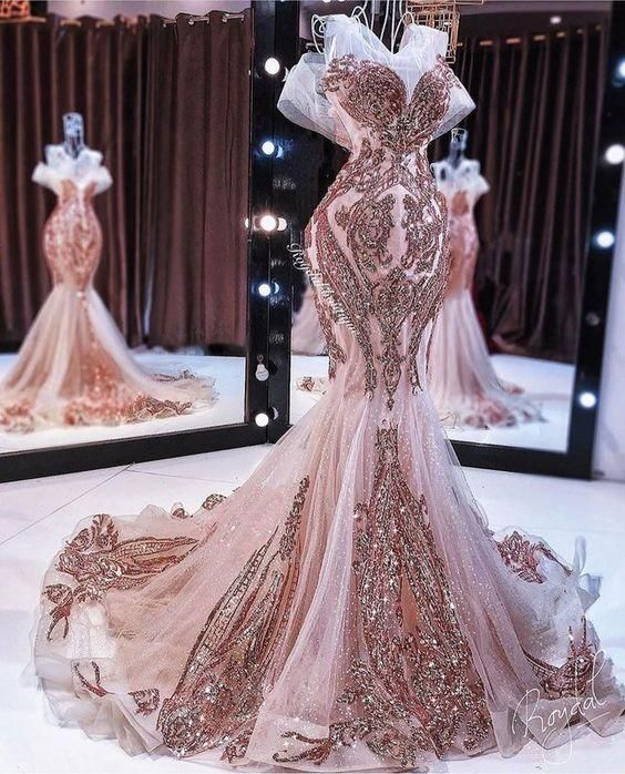 rose gold evening dresses 2020 sparkly mermaid beaded appliqué luxury evening gown vestidos