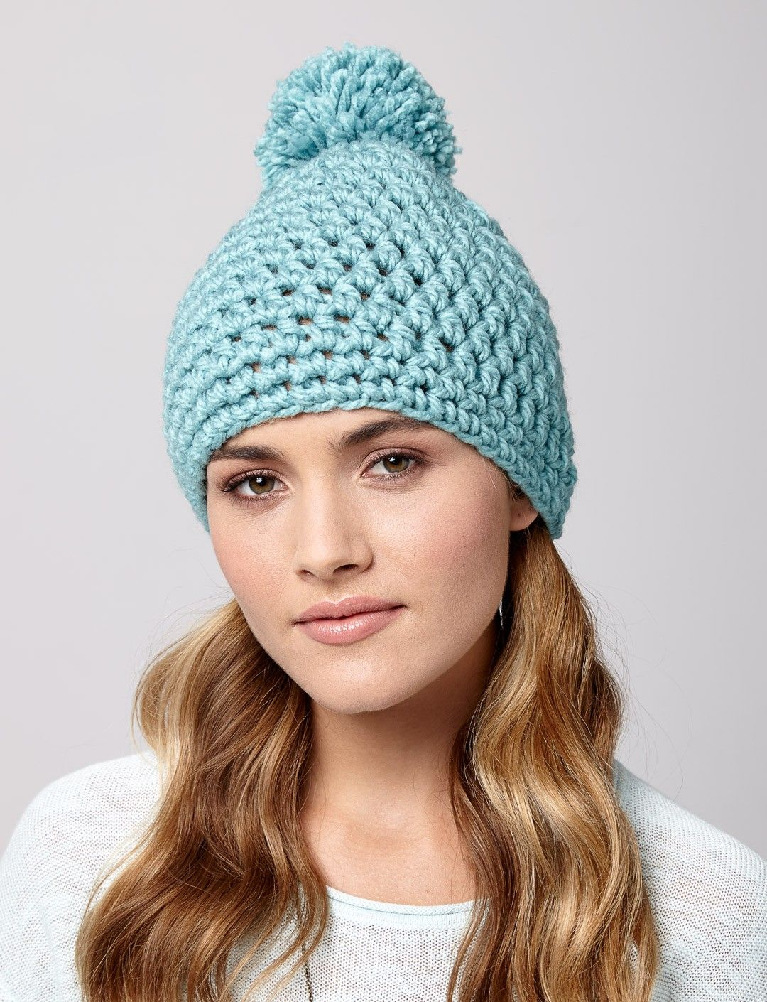 Cute Quick Pompom Hat Free Crochet Pattern Yarnspirations