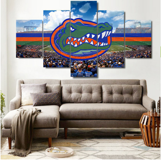 5 Pieces Florida Gators Painting Hd Printed On Canvas Wall Art Picture Home Deco Posters Canvas Art Wall Decor The Last Supper Painting Customized Canvas Art