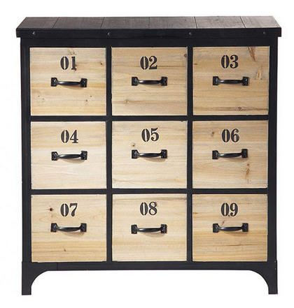 commode vintage industriel bois 9 tiroirs meubles pas cher pinterest commodes tiroir et. Black Bedroom Furniture Sets. Home Design Ideas