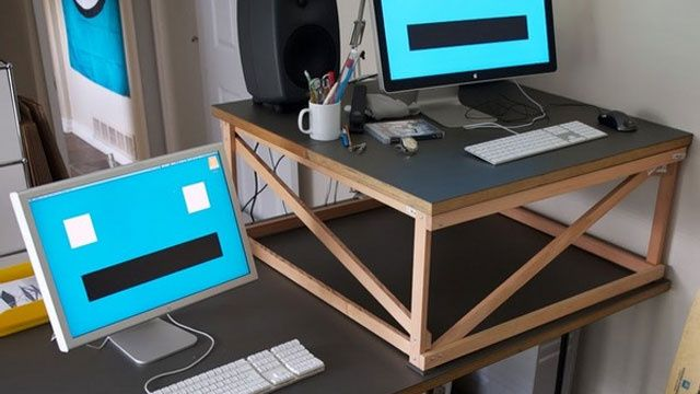 Make Yourself A Standing Desk This Weekend Diy Standing Desk Standing Desk Benefits Standing Desk