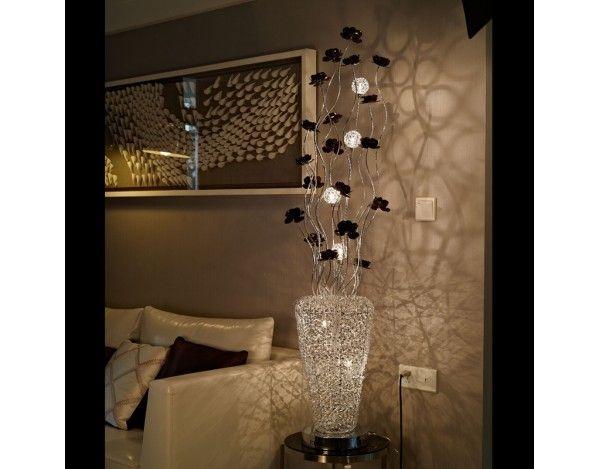 Arabian Basket Silver Woven Wire & Aluminium Floor Lamp with Copper ...