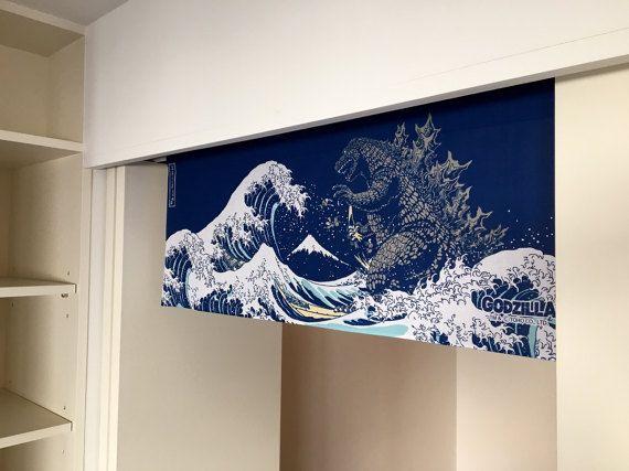 Godzilla Japanese Tenugui Handmade Noren Curtain Cotton Fabric