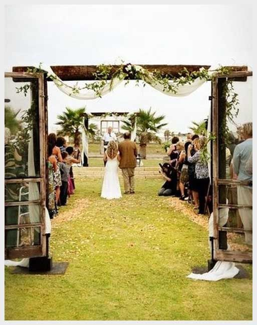 I Love The Simple Arch With Old Screen Doors :) / Wedding Ideas U2013 Juxtapost  Lee James Floral, Ceremony Floral, Outdoor Ceremony