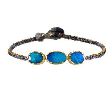 Brooke Gregson | Triple Boulder Opal Woven Chain Bracelet in Designers Brooke Gregson Bracelets at TWISTonline
