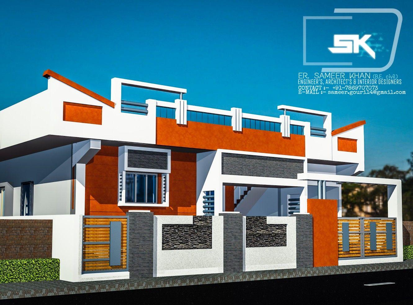Modern House Exterior Elevation Ground Floor Design By Er Sameer Khan Modern Exterior House Designs Village House Design Modern House Exterior