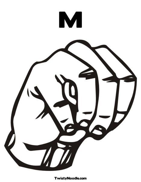 Sign Language Letter M Coloring Page  Me ItS All About The M