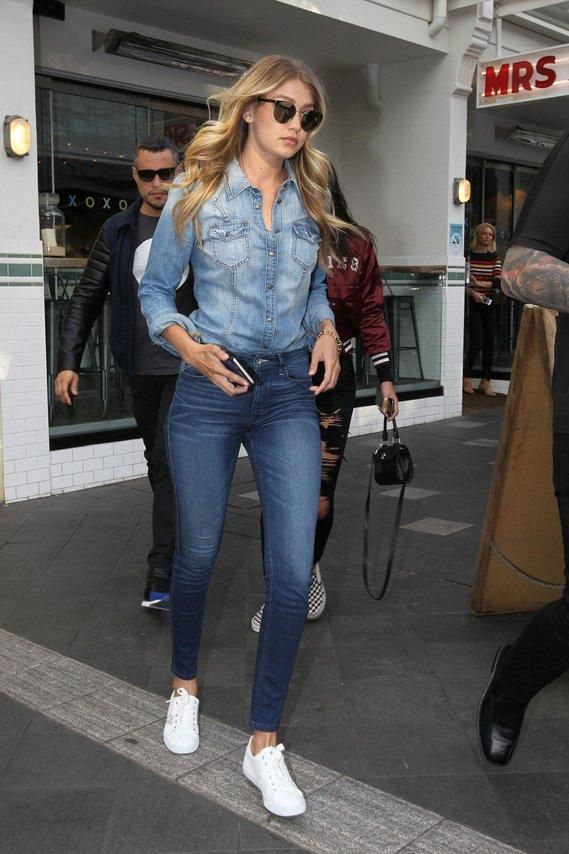 10c08637aef Gigi Hadid s denim on denim outfit is the perfect back to school look