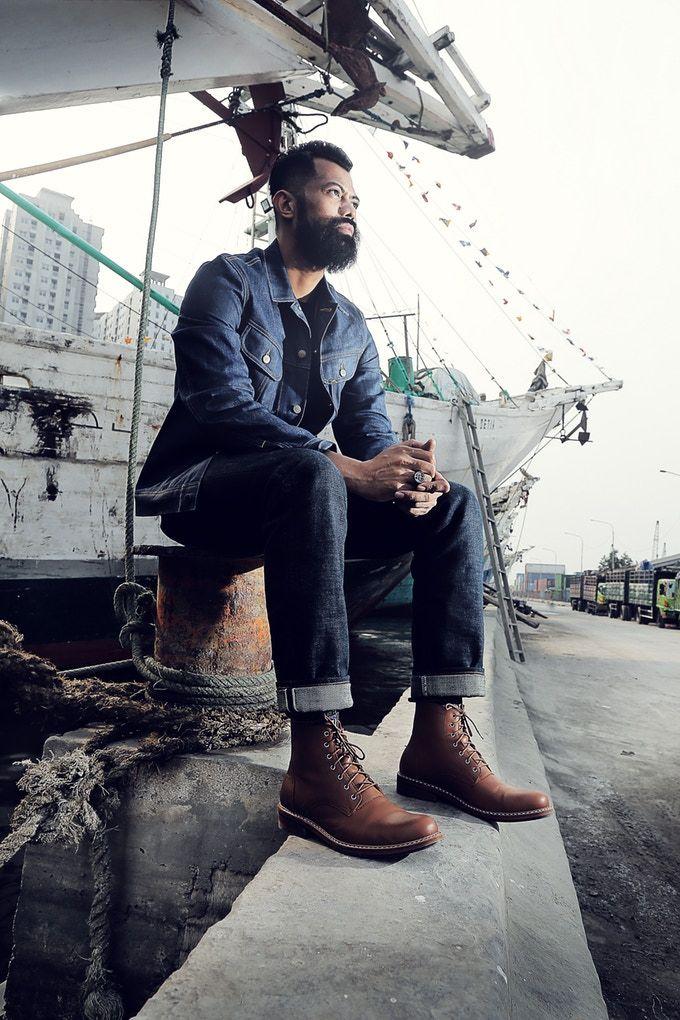 Johan Malik using Raider Boots from Heimdall Footwear. Photoshoot in Sunda  Kelapa Harbor, Jakarta