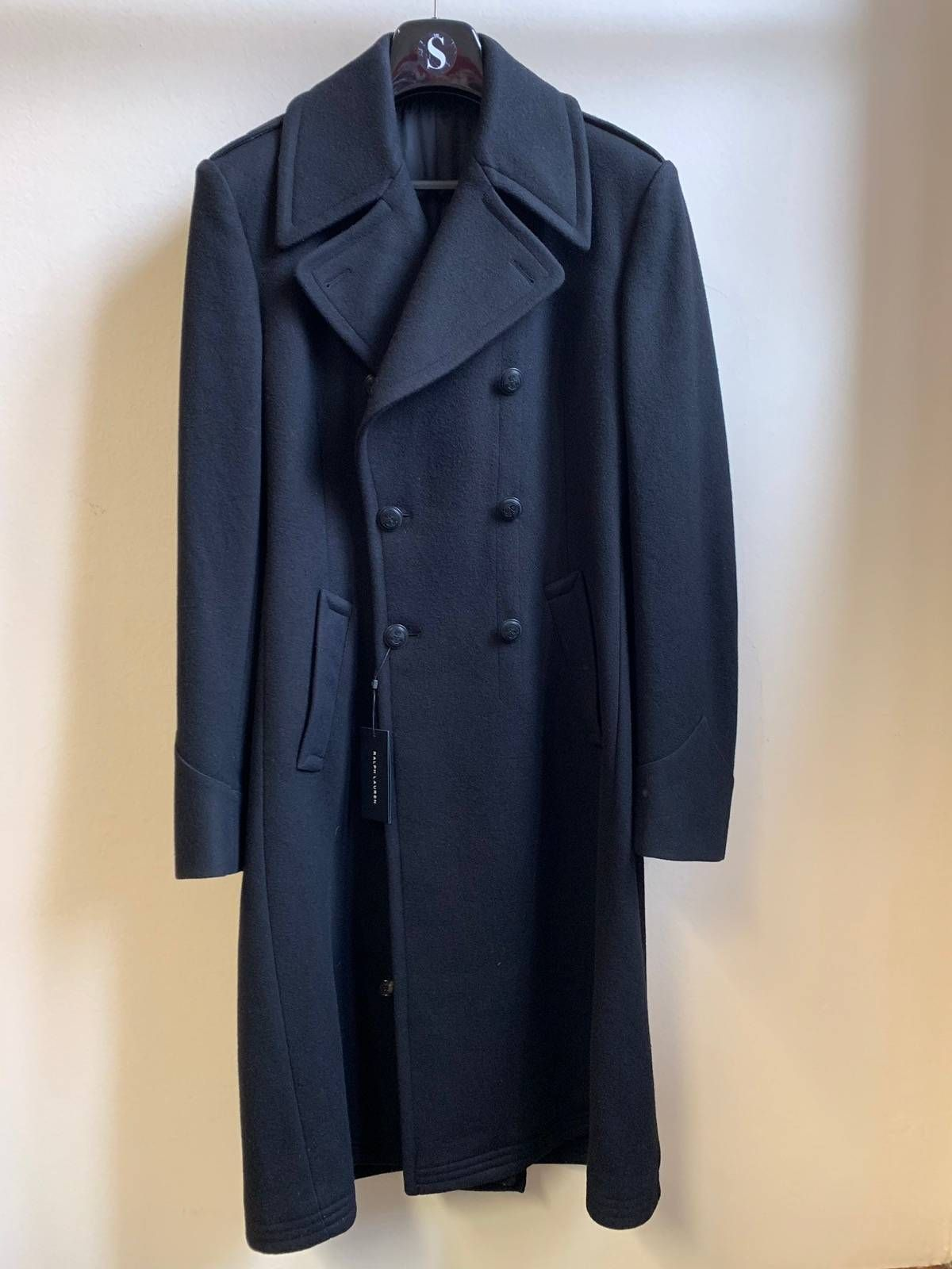 b35c9e22 Buy Polo Ralph Lauren Double-Breasted Black Long Coat, Size: L,  Description: Polo Ralph Lauren black label double breasted black long coat  size 52 brand new ...