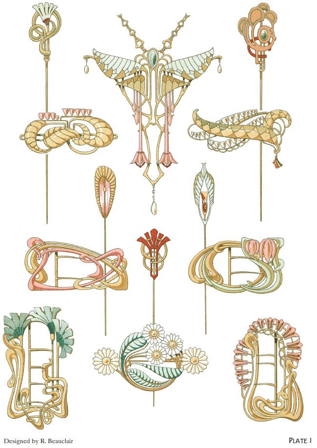 Art nouveau jewelry designs by rene beauclair welcome for Art nouveau shapes