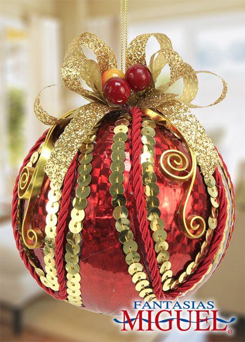 Esfera roja con dorado navidad 2014 adorno - Adornos de navidad 2014 ...