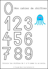 Cahier de coloriage des chiffres colorier les chiffres en - Cahier de coloriage gratuit ...