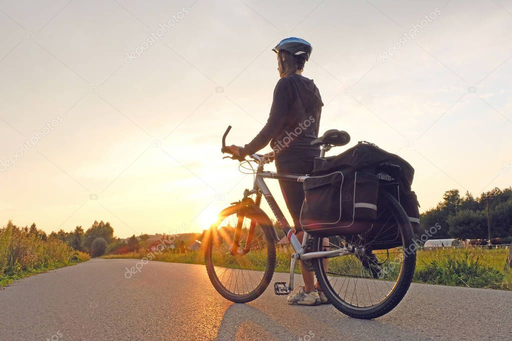 Young Woman Standing Road Bike Mountain Bicycle Rider Hill Sunrise