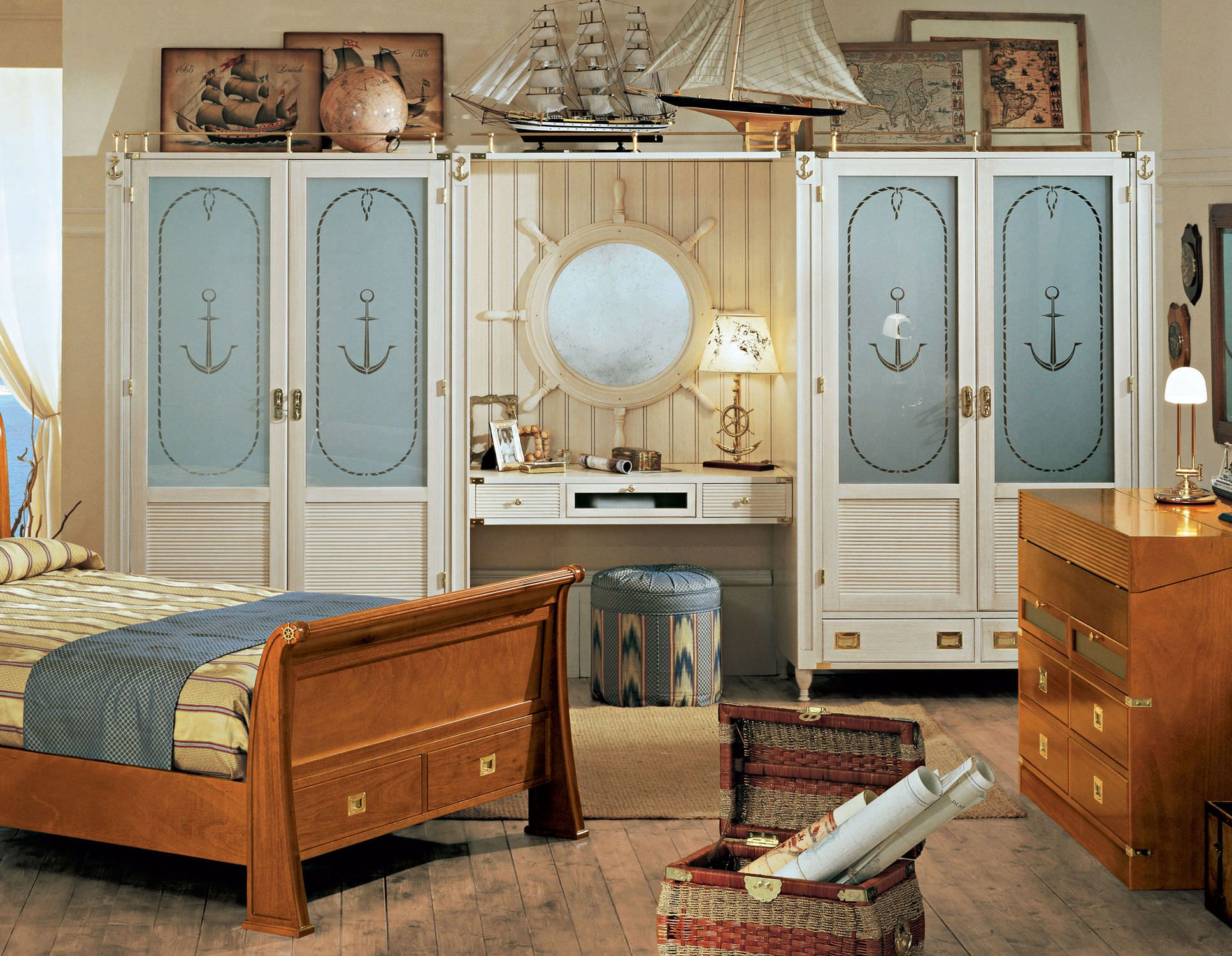 interesting nautical bedroom ideas for kid. Closet And Wardrobe Designs. Awesome Inspiring Nautical-Themed Decorating Kids Bedroom Ideas With Cool Classic Wooden Creamy-Colored Wardrob. Interesting Nautical For Kid B
