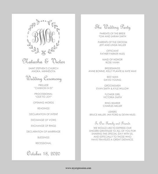 Wedding Program Template Tea Length Gray Leaf Monogram Instant