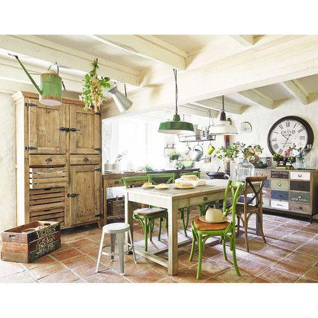 Table de salle à manger en bois grise L 180 cm Sarlat Maisons du
