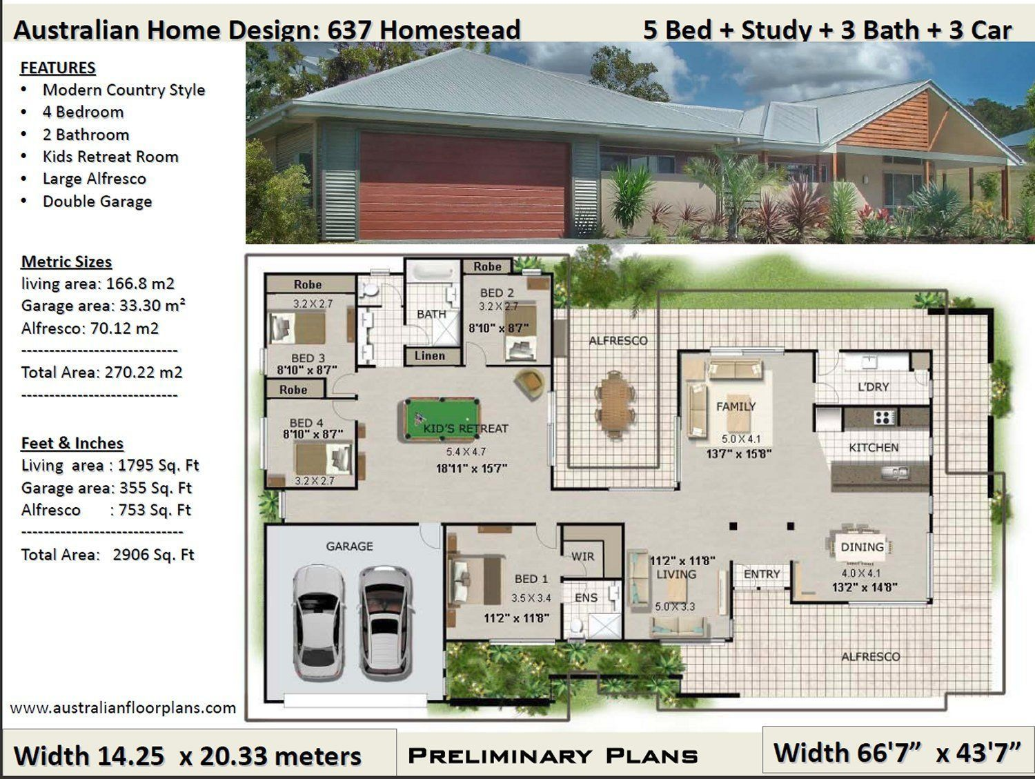 270m2 2906 Sq Ft 4 Bed Acreage Style 4 Bedroom House Plan Australia Acr Country Style House Plans House Plans Australia Colonial House Plans