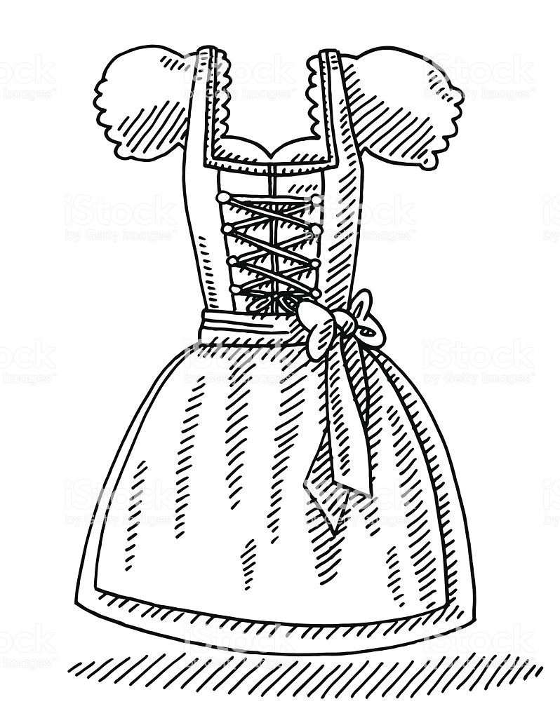 Hand Drawn Vector Drawing Of A Dirndl Bavarian Women S Clothing
