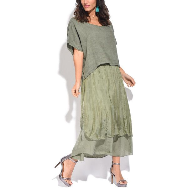 Couleur Lin Green Layered Linen Maxi Dress (82 AUD) ❤ liked on ...