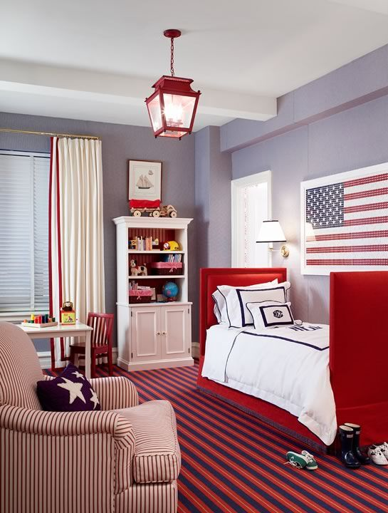 Boy S Rooms Blue Walls Red Twin Bed White Red Monogrammed