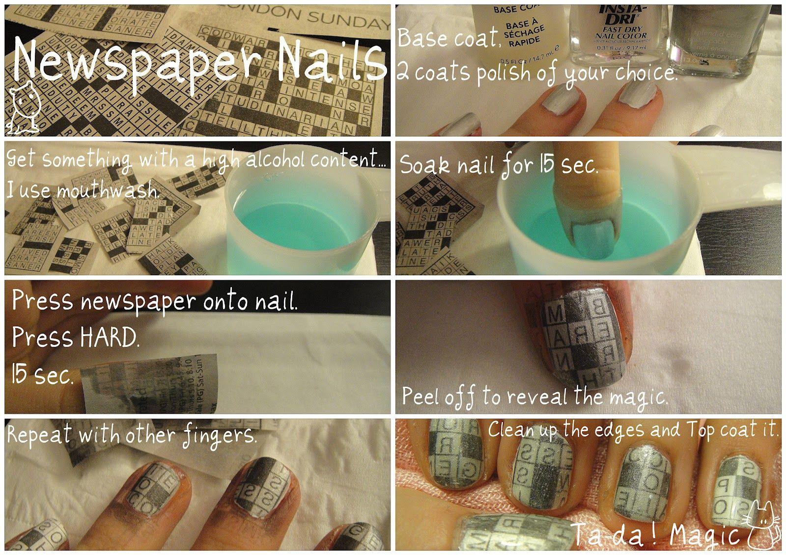 Globe & Nail: Newspaper Nails Tutorial | Nails | Pinterest ...
