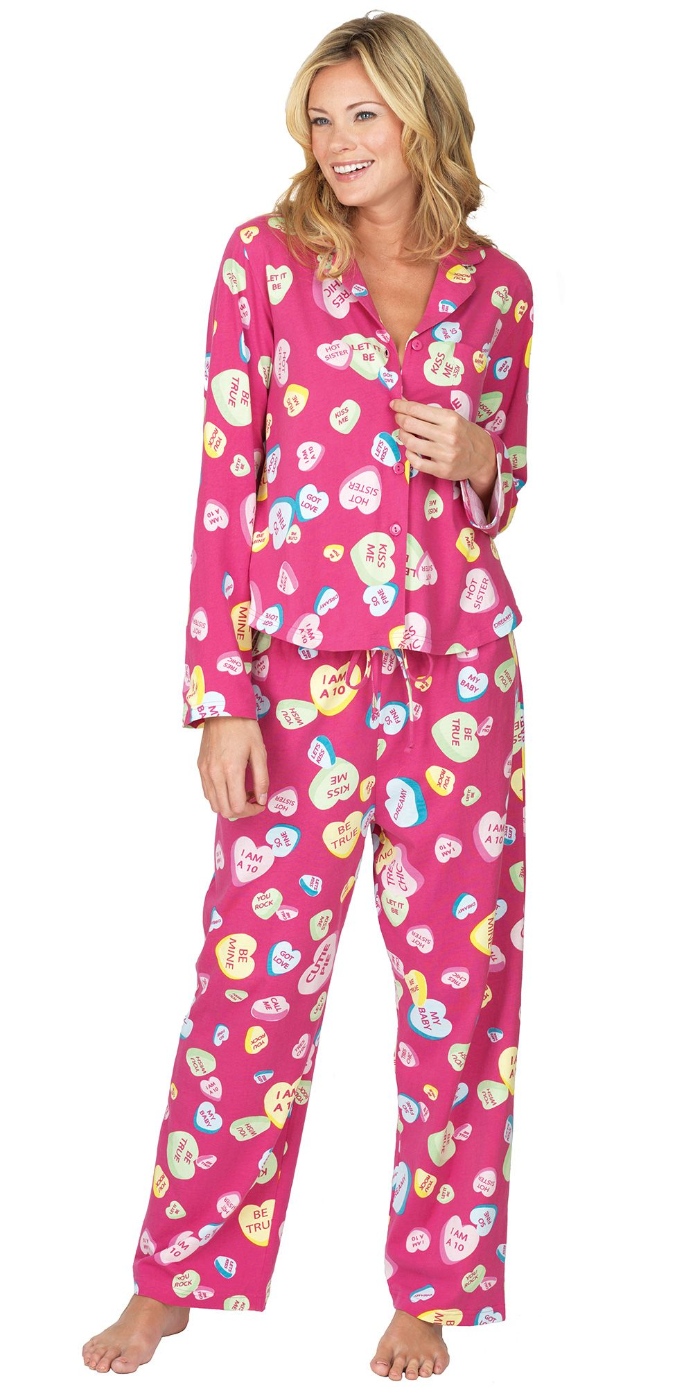 conversation heart boyfriend pjs valentines day pajamas from pajamagram 5999 valentinesday hearts - Valentines Day Pajamas
