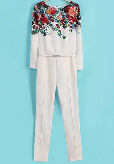 White Long Sleeve Floral Belt Jumpsuit $MXN395.95