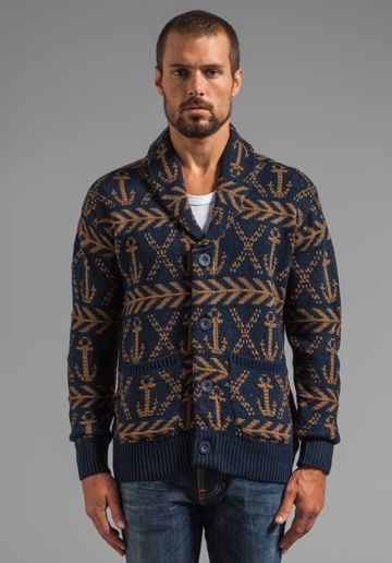 OBEY Anchors Heavyweight Cardigan in Dark Navy - Sweaters & Knits