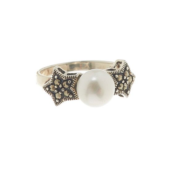 Vera & Co., Inc. Pearl & Marcasite Double Star Ring ($17) ❤ liked on Polyvore featuring jewelry, rings, pearl jewelry, pearl jewellery, pearl ring, white pearl ring and star jewelry