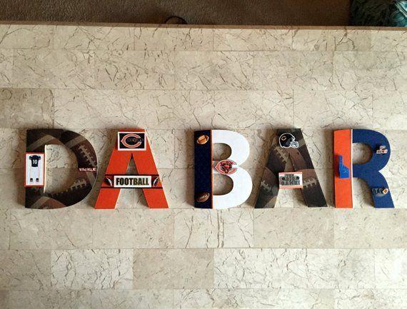 Chicago Bears Bar Wall Letters, NFL Fußball, Sport personalisierte Wanddekoration, NFL Man Ca... #mancavebasement