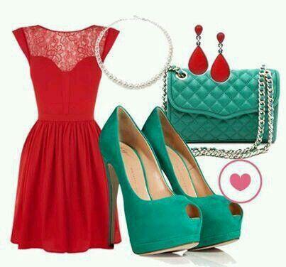 Conjunto De Vestido Rojo Y Complementos Verdes Zapatos