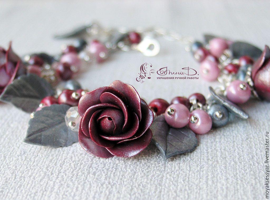 """Купить Браслет """"Блеск"""" - браслет, Браслет ручной работы, авторская бижутерия, браслет с розами"""